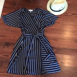 Monteau blue and white striped dress
